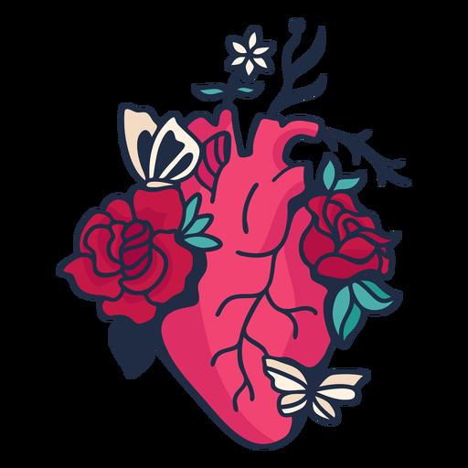 Flower butterfly heart symbol red