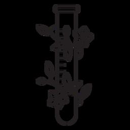 Esquema de símbolo de tubo de ensayo químico florido