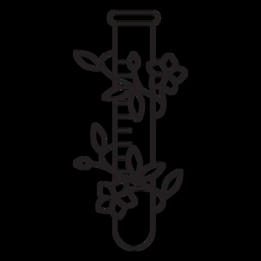 Contorno de símbolo de tubo de ensayo químico florido