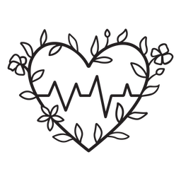 Flowery heart beat symbol outline