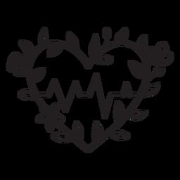 Flowery heart beat symbol outline