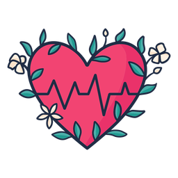 Flowery heart beat symbol red
