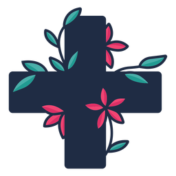 Flowery medical cross symbol black