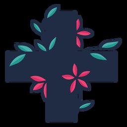 Símbolo de cruz médica florido negro