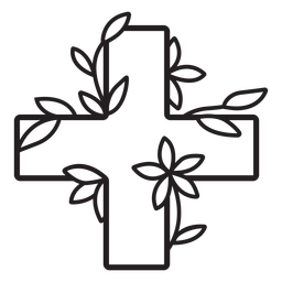 Flowery medical cross symbol outline
