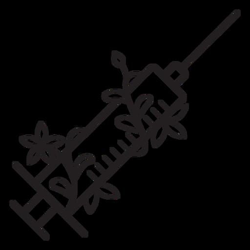 Flowery needle syringe stroke