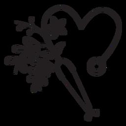 Esquema de símbolo de estetoscopio florido