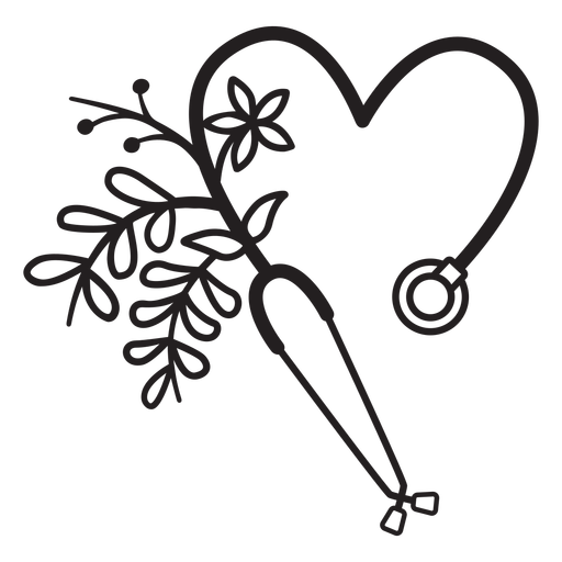 Flowery stethoscope symbol outline