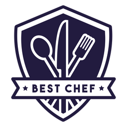 Fork knife ladle cooking chef shield badge