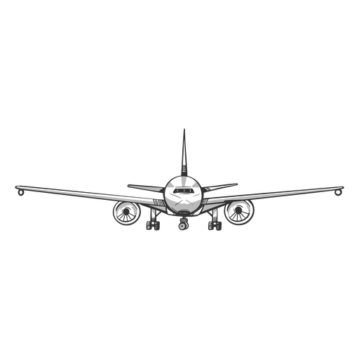 Front view airplane outline Transparent PNG
