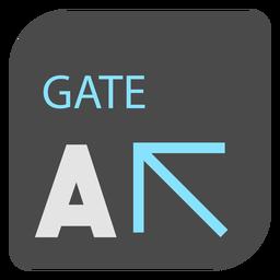 Puerta de un icono de signo de aeropuerto de flecha
