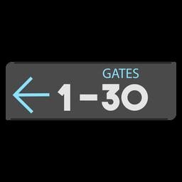 Gates 1 30 flecha izquierda icono de signo de aeropuerto