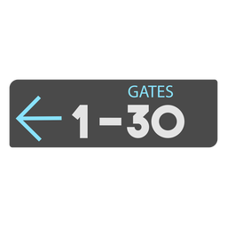 Gates 1 30 left arrow airport sign icon