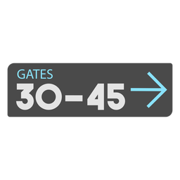 Gates 30 45 left arrow airport sign icon