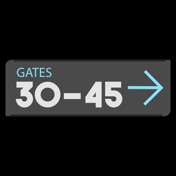 Icono de signo de aeropuerto de flecha izquierda de puertas 30 45
