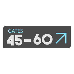 Gates 45 60 airport sign icon