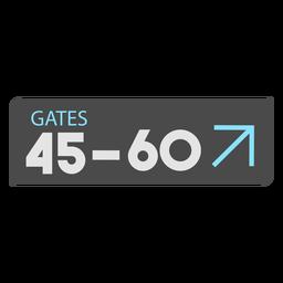 Icono de signo de aeropuerto de puertas 45 60
