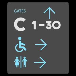 Gates c 1 30 icono de signo de aeropuerto de baño