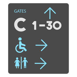 Gates c 1 30 washroom airport sign icon