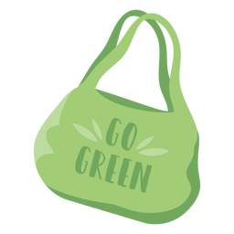 Go green reusable shopping bag flat symbol