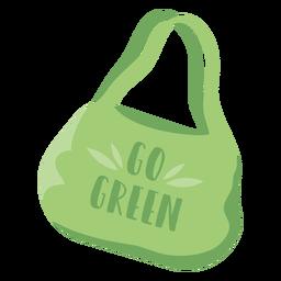 Ir símbolo plana de saco de compras reutilizável verde