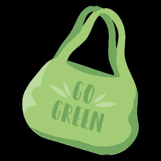 Ir símbolo plano verde bolsa de compras reutilizable