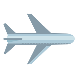 Gray airplane top view flat symbol