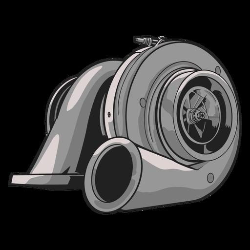Ilustração do turbo compressor cinza