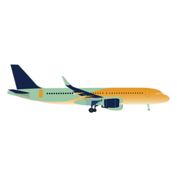 Green yellow gradient airplane profile