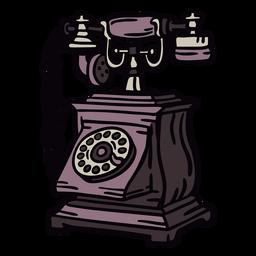 Telefone rotativo clássico quadrado desenhado à mão marrom