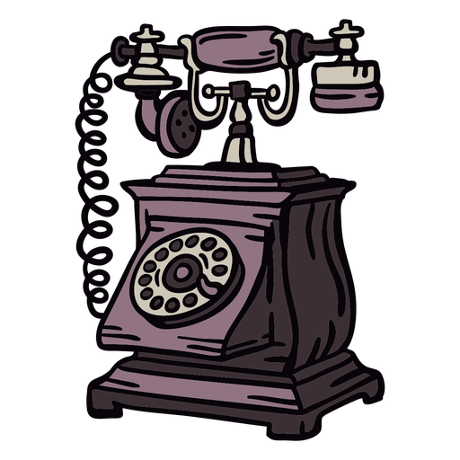 Hand drawn boxy classic rotary phone brown Transparent PNG