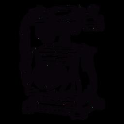 Esquema de teléfono rotatorio clásico cuadrado dibujado a mano