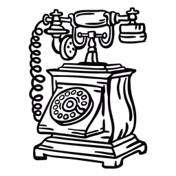 Hand drawn boxy classic rotary phone outline