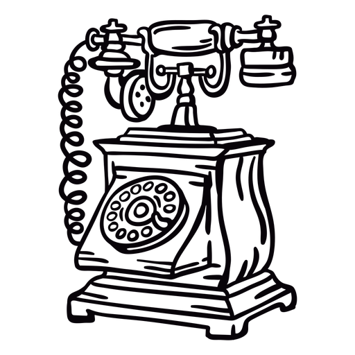 Hand drawn boxy classic rotary phone outline Transparent PNG