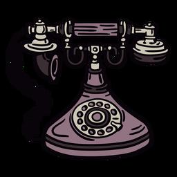 Frente de telefone rotativo clássico desenhado de mão