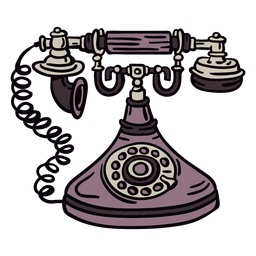 Hand drawn classic rotary phone front
