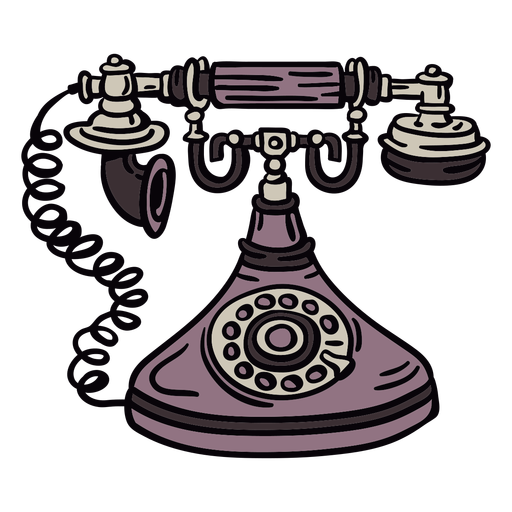 Hand drawn classic rotary phone front Transparent PNG