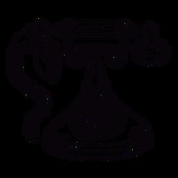Contorno frontal de telefone rotativo clássico de mão desenhada