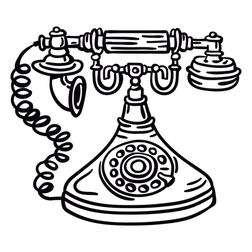 Hand drawn classic rotary phone front outline Transparent PNG