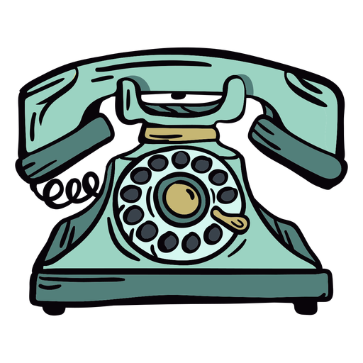 Hand drawn modern classic rotary phone Transparent PNG