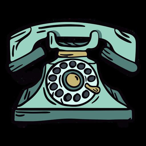 Teléfono rotatorio clásico moderno dibujado a mano