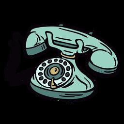 Teléfono rotatorio clásico moderno dibujado a mano en ángulo