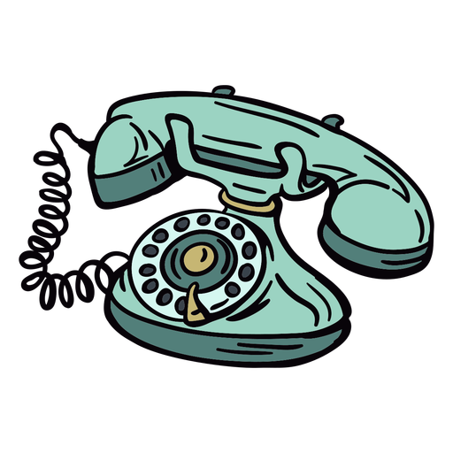 Hand drawn modern classic rotary phone angled Transparent PNG