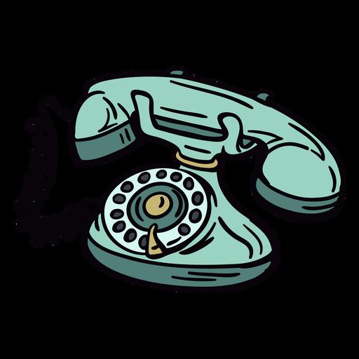 Hand drawn modern classic rotary phone angled
