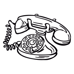 Hand drawn modern classic rotary phone angled outline