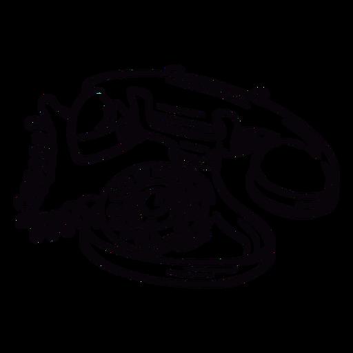 Esboço angular do telefone giratório clássico moderno desenhado à mão