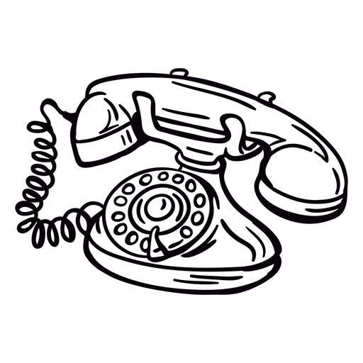 Hand drawn modern classic rotary phone angled outline Transparent PNG