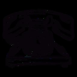 Esquema de teléfono rotatorio clásico moderno dibujado a mano