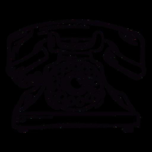 Esboço de telefone giratório clássico moderno desenhado à mão