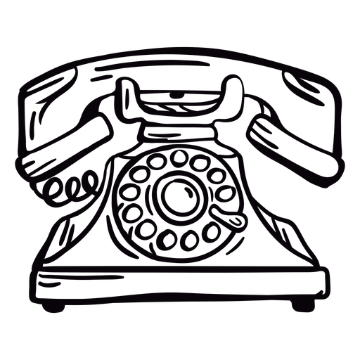 Hand drawn modern classic rotary phone outline Transparent PNG